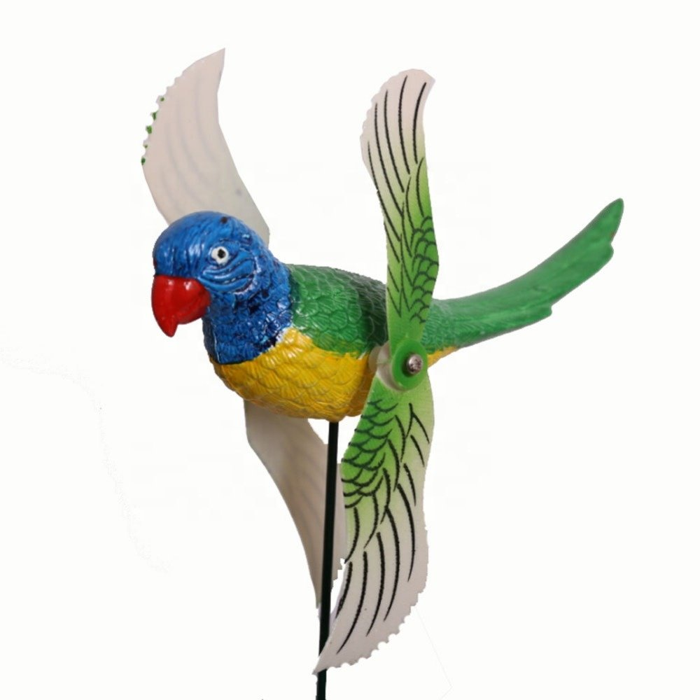Osgoodway1 China Supplier Direct Sale Plastic Garden Bird stake Wind Spinner Parrot Windmill for yard decorations free shipping