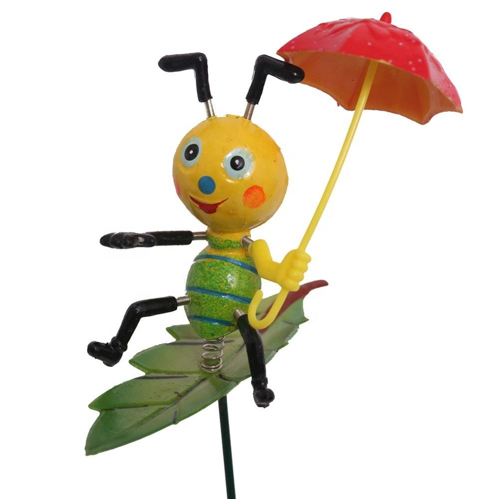 Osgoodway8Factory Direct Sale Cartoon Plastic Snail Ants with umbrella Stakes Garden Ornaments for yard decorations