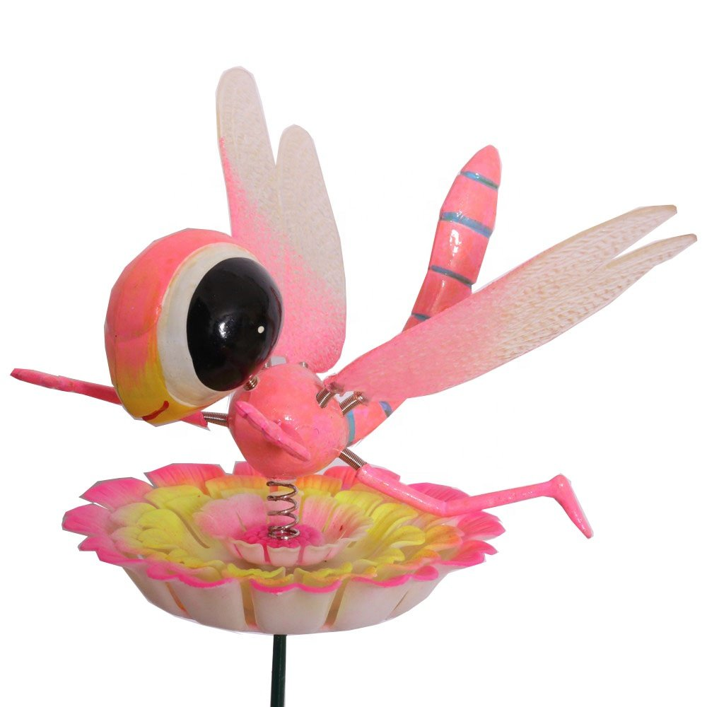 product-Osgoodway Hot Sale wholesale PINK Plastic Dragonfly ornament garden decorfor yard decoration-1