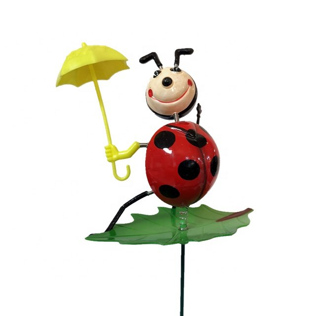 Osgoodway New product Wholesale Ladybird with umbrella funny animal garden decor for yard