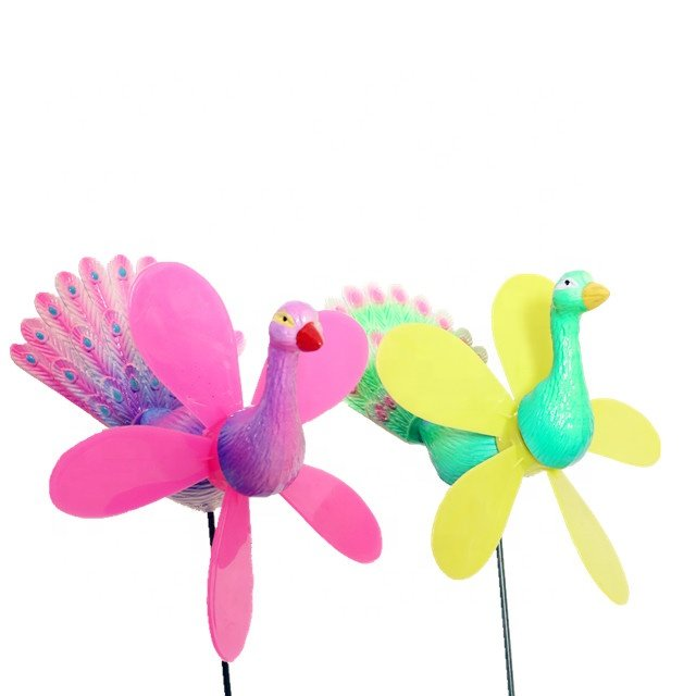 product-Osgoodway New Products customized garden ornament windmill multicolor Cartoon plastic peafow-1