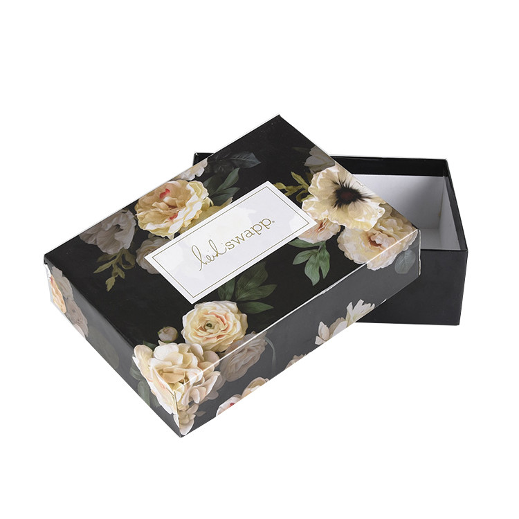 Printed Custom Luxury Design Packaging Hard Paper Black Gift Box with Lid