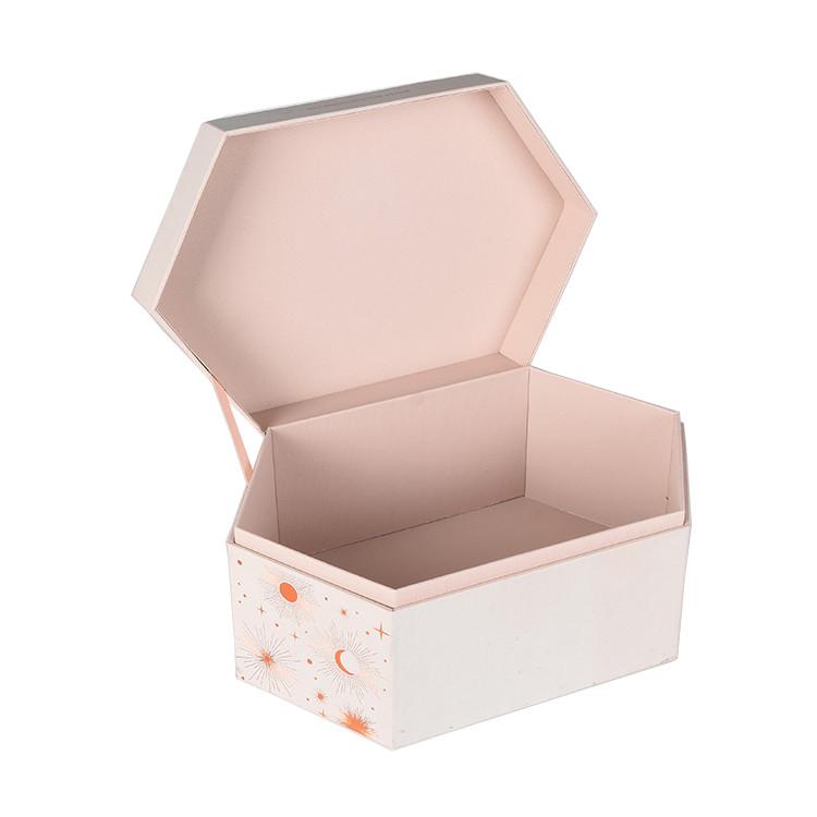 Custom Hexagon Jewelry Box Ring Boxes Pink Gift Box Trinket Hexagon Box