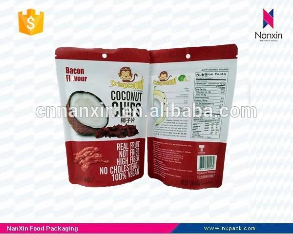 coconut chips packaging foil lined ziplock pouch with hanging hole