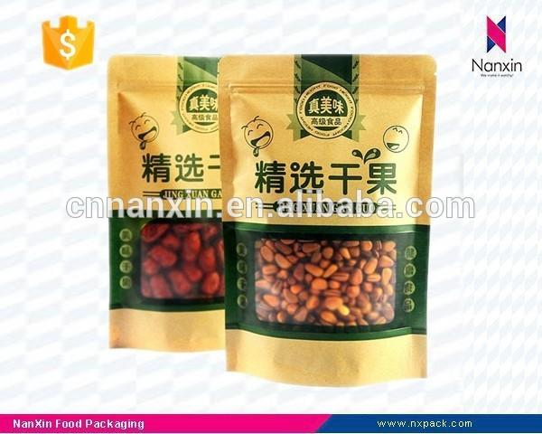 kraft paper dried fruit packaging bag with window