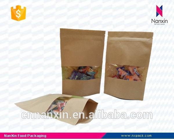 kraft paper packaging stand up ziplock pouch with window