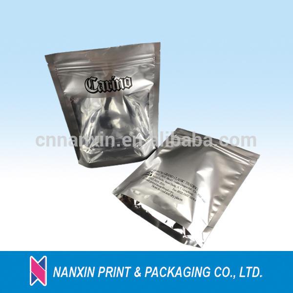 sliver designed packaging zipper bag