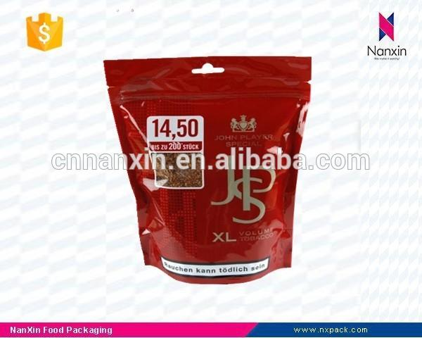 plastic tobacco packaging stand up pouch with zipper