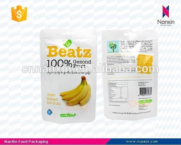 plastic banana chips packaging pouch with zipper