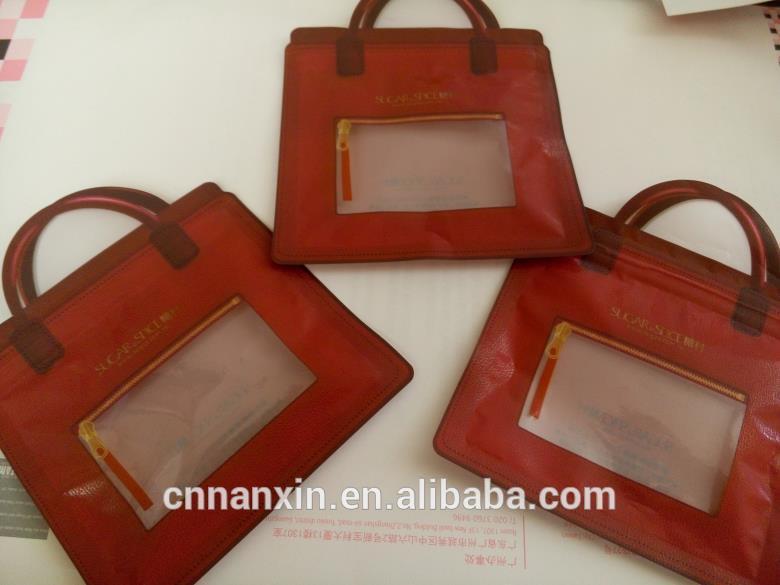 ziplock bag with window tiny handle handbag shape for candy