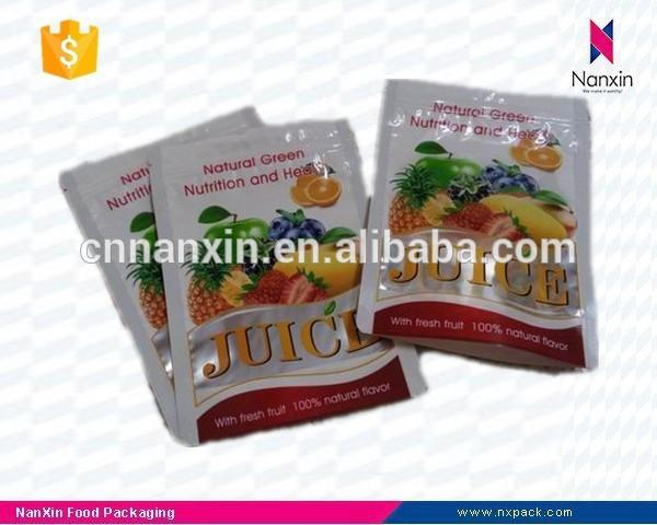 plastic packaging zipper pouch for juice powder