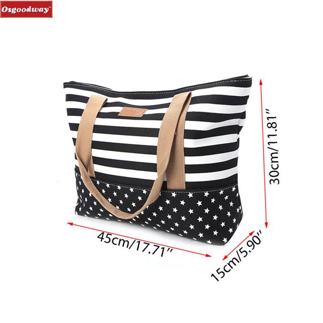 product-Osgoodway 2020 New Fashion Women Lady Stripes Messenger Beach Handbag Cotton Shoulder Hand B-1