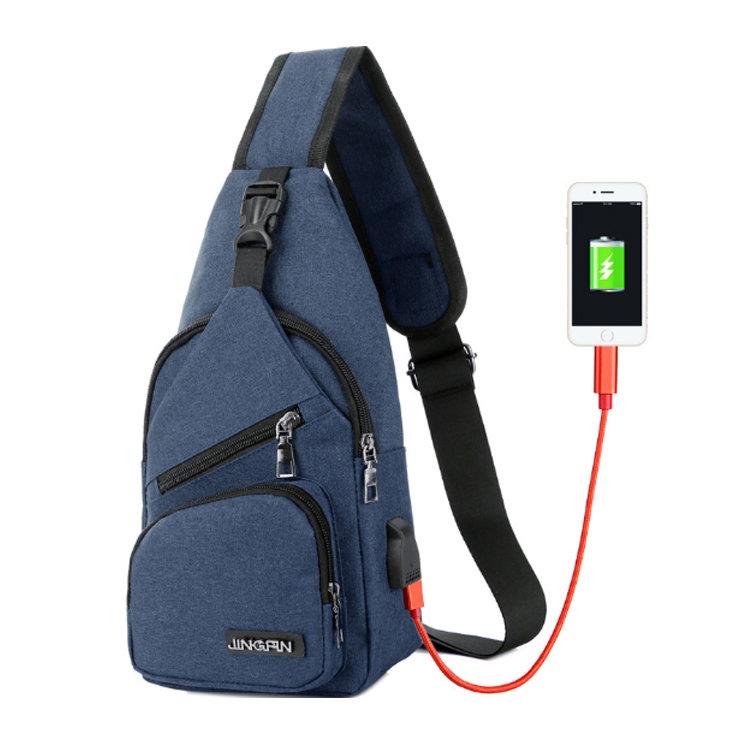 Osgoodway2 Cheap Women Men Sport Crossbody Shoulder Bag USB Charging Cross Body Chest Bag