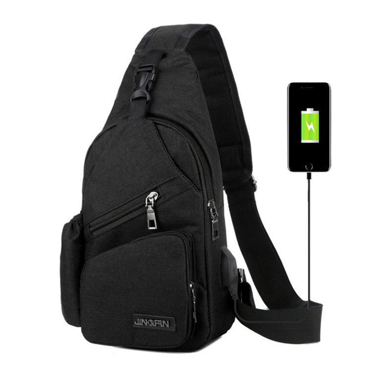 Osgoodway Mens Cross Body Small Sling Bag Sports Chest Bag Single Shoulder Bag with USB Charger