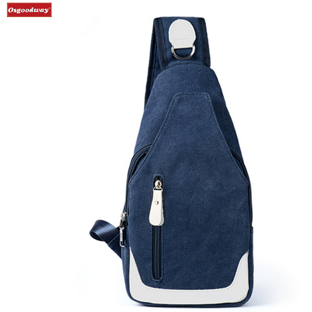 product-Osgoodway Hot Sale Casual Fashion Custom Logo Men Canvas Chest Bag Crossbody Shoulder Sling -1