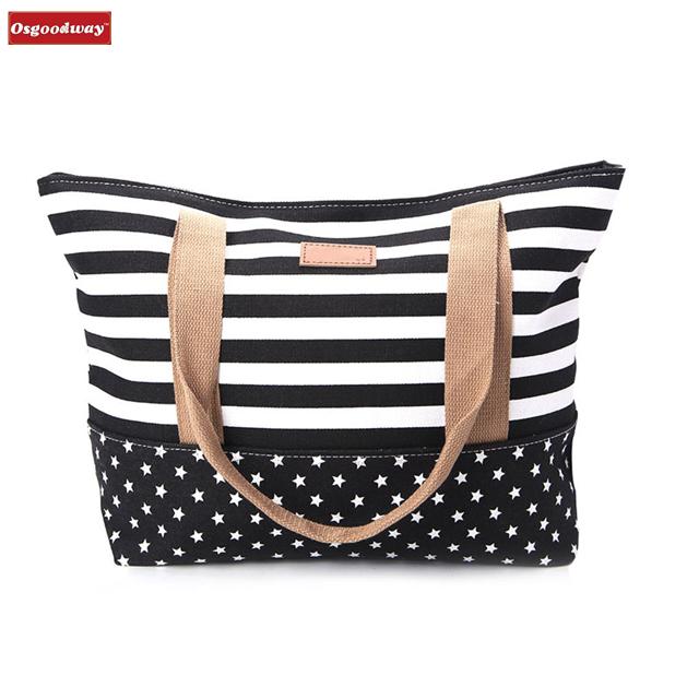 Osgoodway 2020 New Fashion Women Lady Stripes Messenger Beach Handbag Cotton Shoulder Hand Bags Manufacturers China