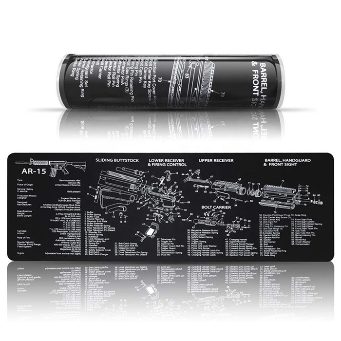 Tigerwings Gun Cleaning Mat Pad with Parts Diagram and Instructions for Use with AR-15