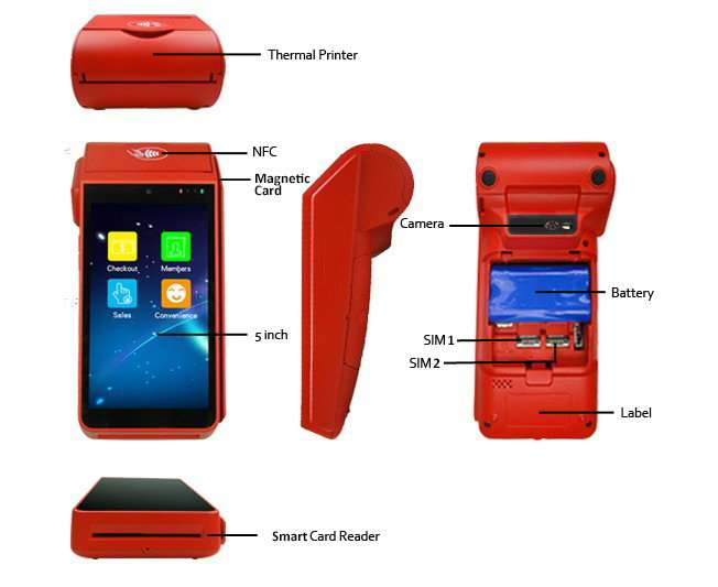 Handheld All in one Ticket System Mobile Mini Wireless Barcode scanner Android PDA POS Terminal With Build In Thermal Printer