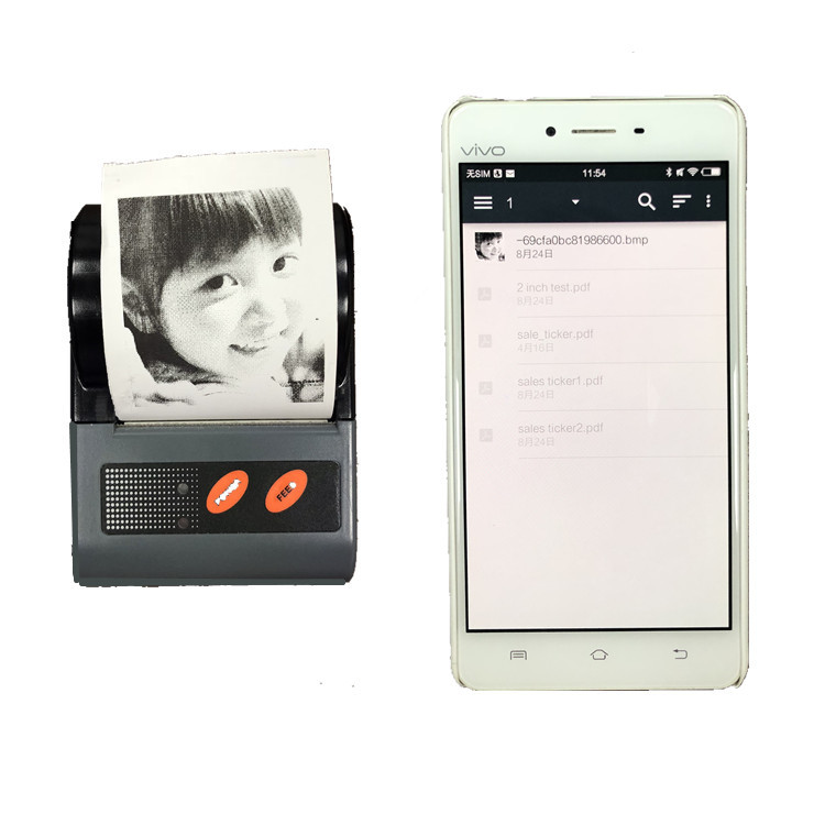 Mini 58mm Thermal Receipt Printer Portable Label Barcode Bluetooth Printer Support Android iOS & Window printing