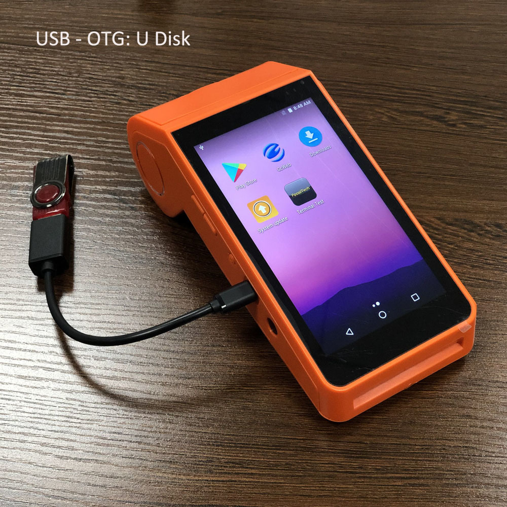 Portable 4G Android POS Terminal With Printer For Restaurant Online , working for WordPress Woocommerence