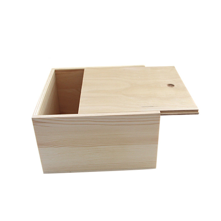 Customized high quality natural color wooden top box with slide lid price