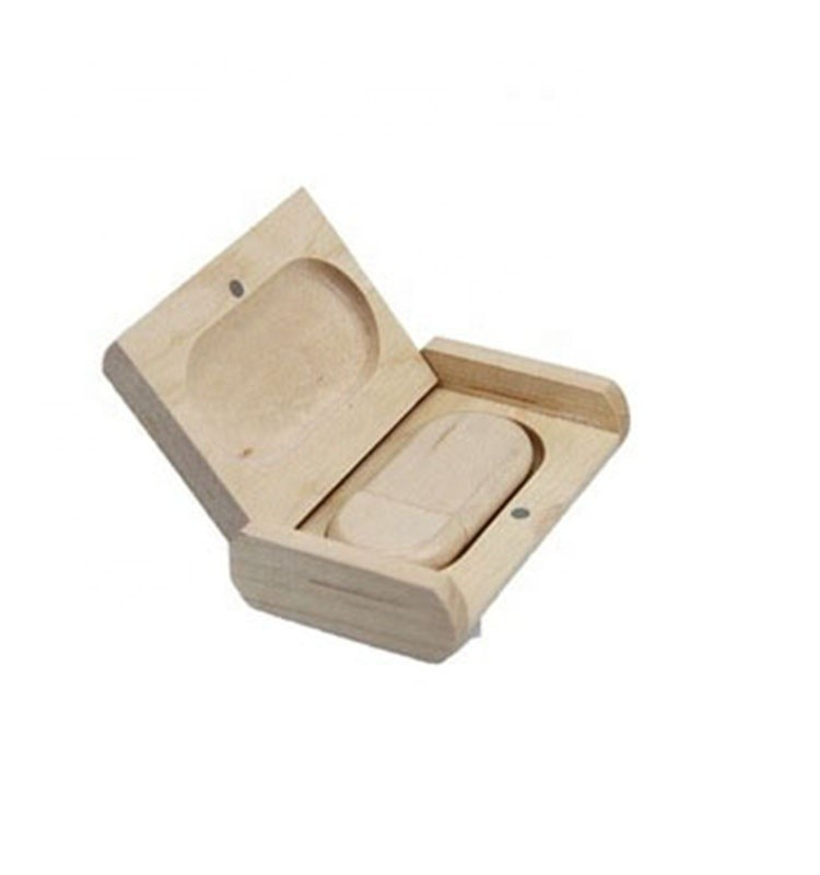 Natural wooden packaging box with flash usb drive gift box