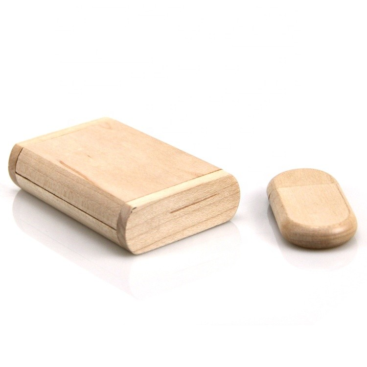 Cheap small plain color maple wooden gift usb flash drive and box