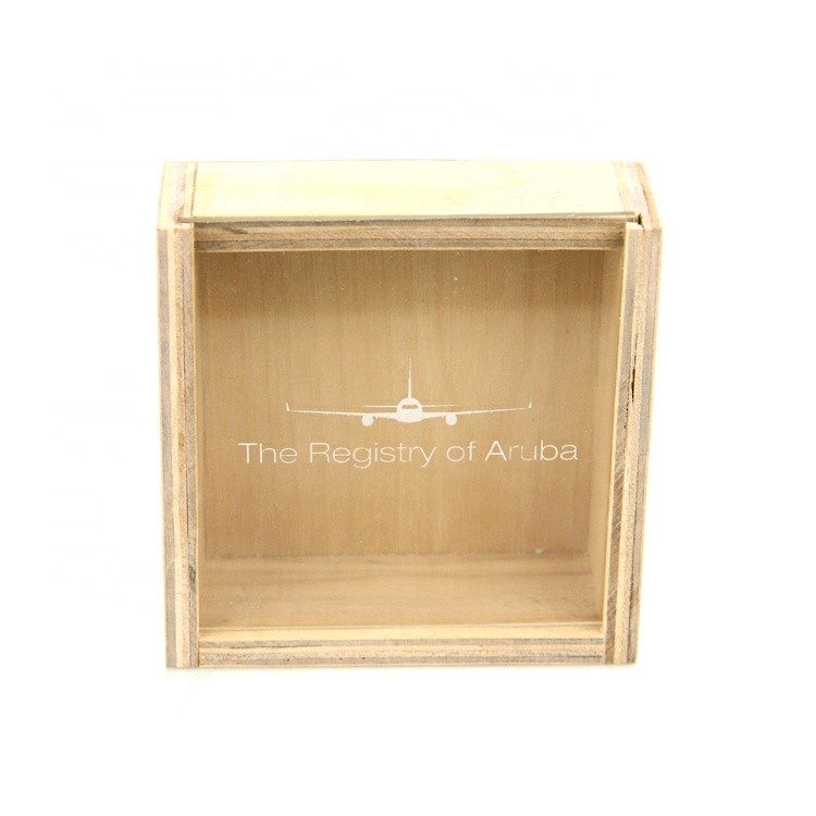 custom logo handcrafted storage wooden box with sliding top wooden box gift box