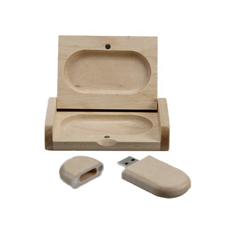 Wholesale China factory handmade natural color maple wooden box usb flash drive