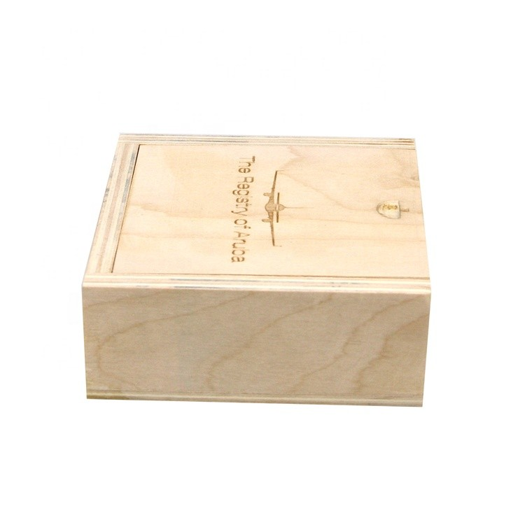 super quality customized natural unfinished square wood packaging box manufacturer