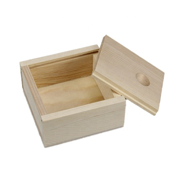 environmental unfinished small mini wooden storage box handmade home decor wood gift box