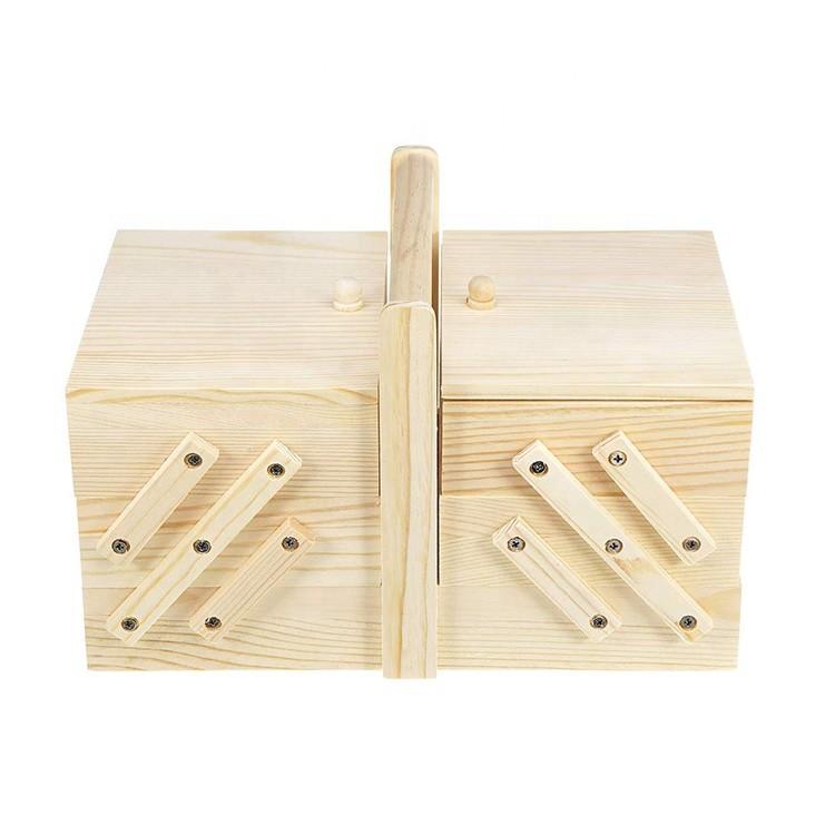 Handmade Adjustable Natural Color Storage Wooden Sewing Kit Box