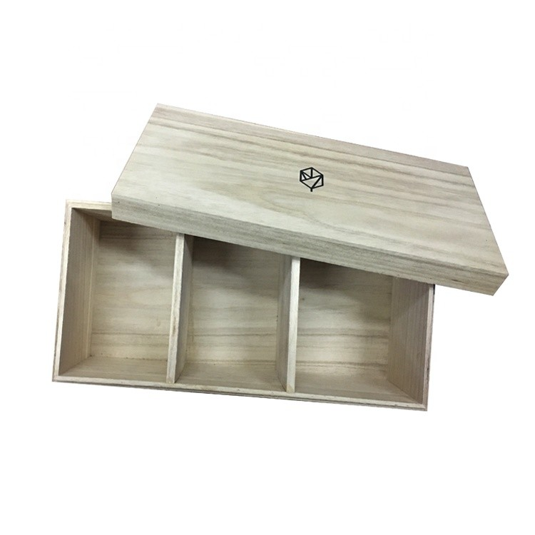 32x15.5x12cm custom logo natural color paulownia wooden gift box
