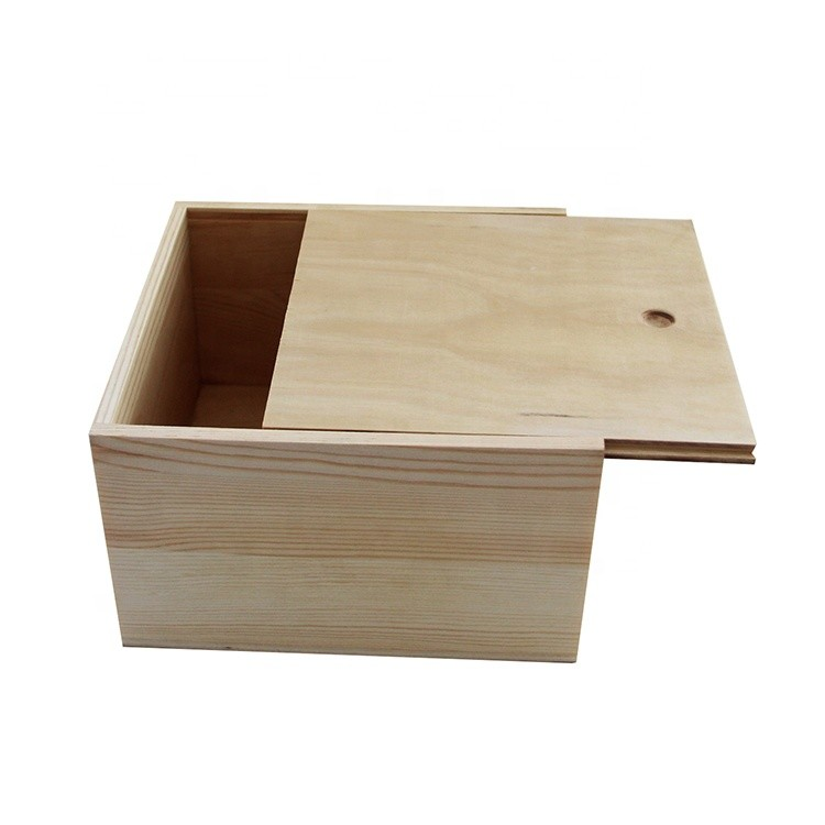 Custom logo printed plain wood color unfinished pine wooden boxes with sliding lid