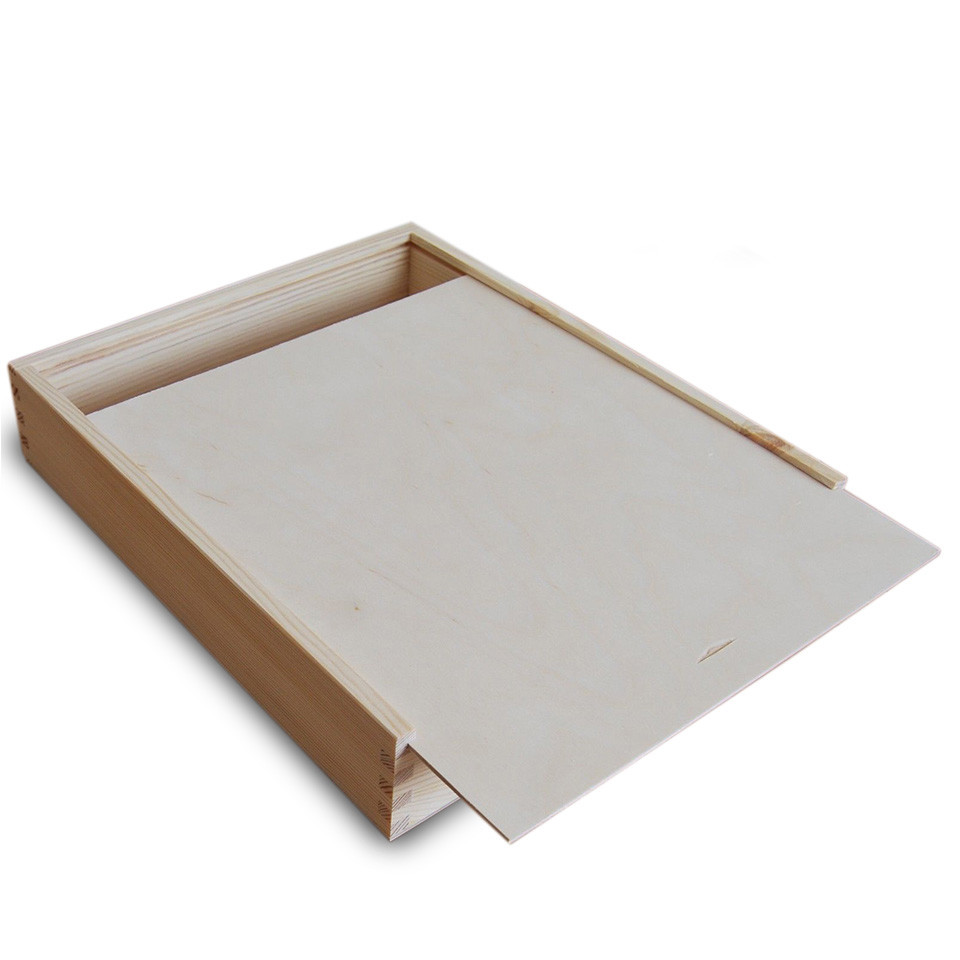Hot sale Customized fancy unfinished sliding lid wooden box