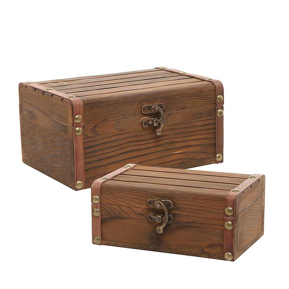 Hot sale Custom antique wooden box with lock