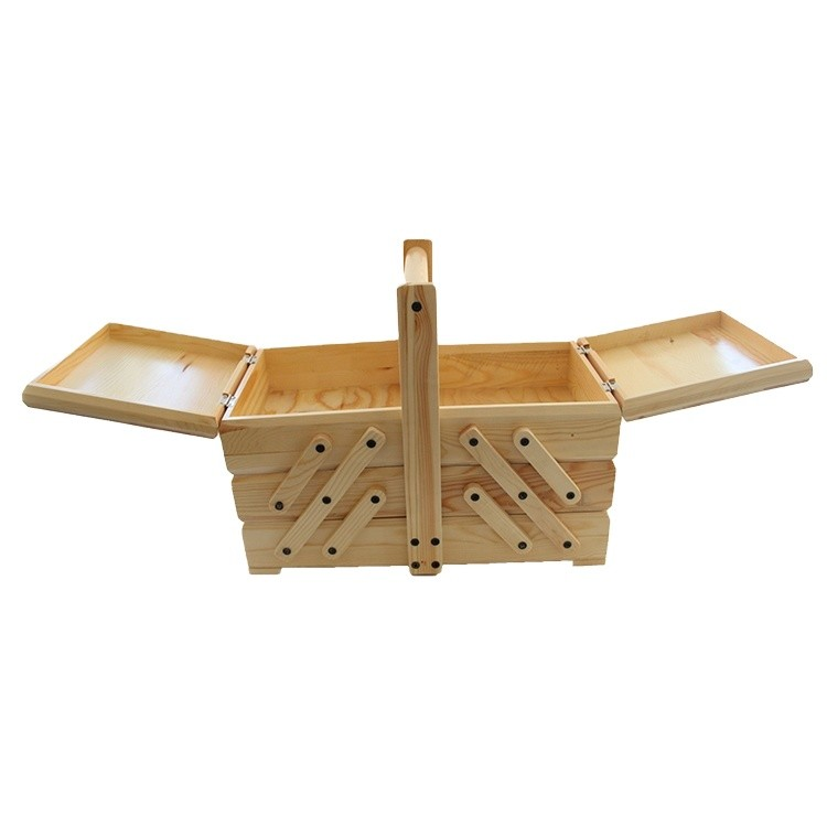 Nice quality folding wooden sewing box with handle