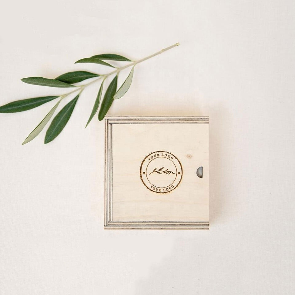 small square wooden carved wooden packaging box with sliding lid for gift