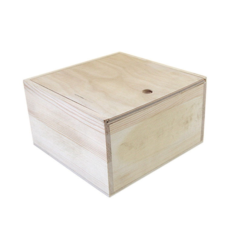 Custom logo unfinished Natural wood craft boxes slide lid