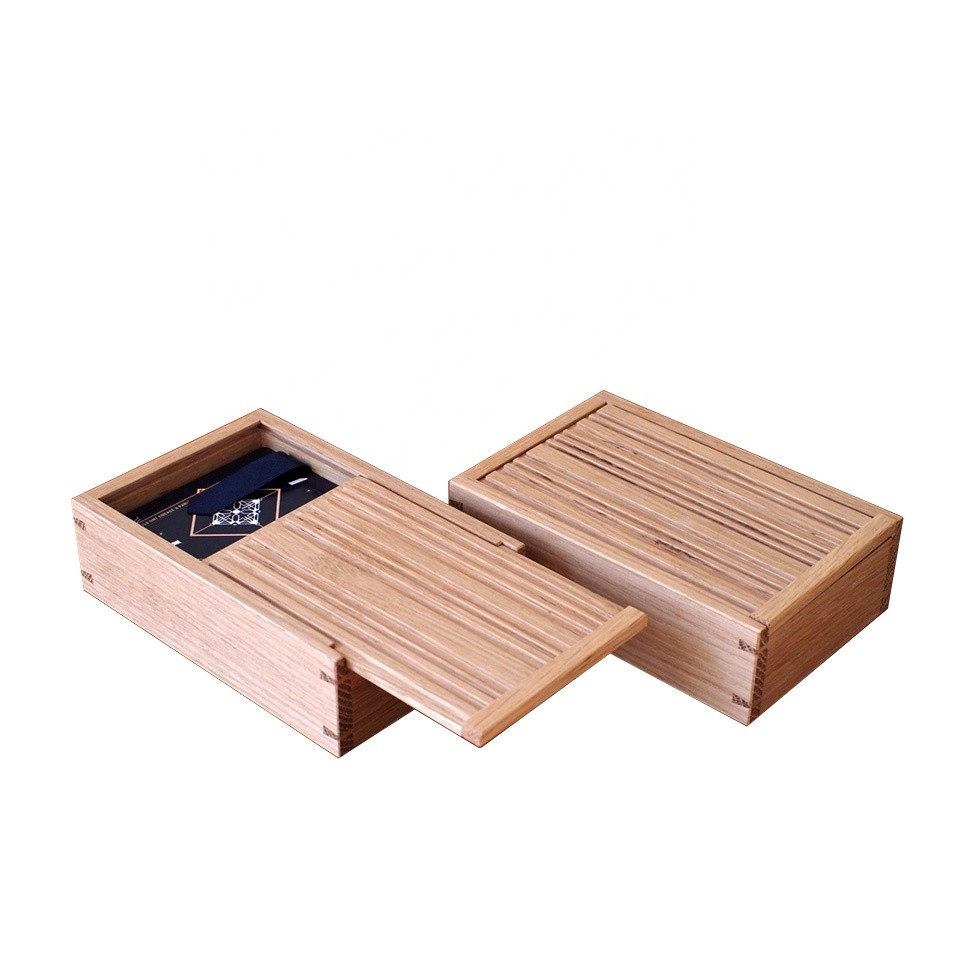 Decorative craft small wooden sliding lid box for business card