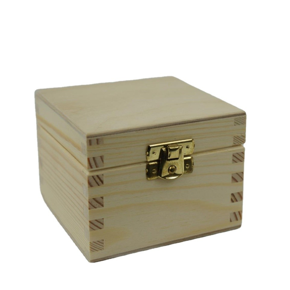 Hot sale Customized unfinished small plain square wooden box