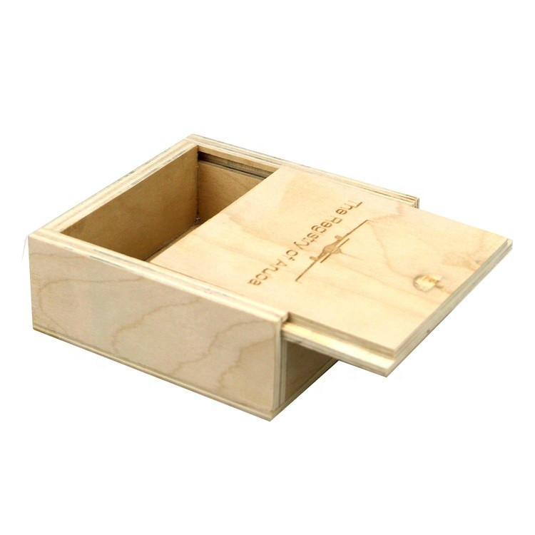 Vitalucks 10x10x3.8cm natural color small unfinished wooden boxes with sliding lid wholesale