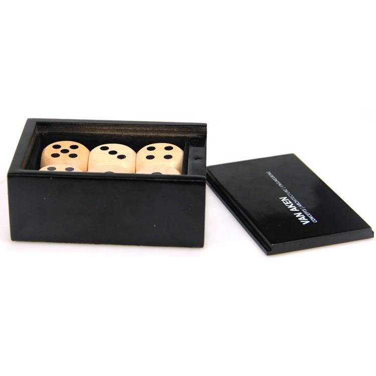 Wholesale custom luxury small wooden dice box 9x6.7x3.8cm
