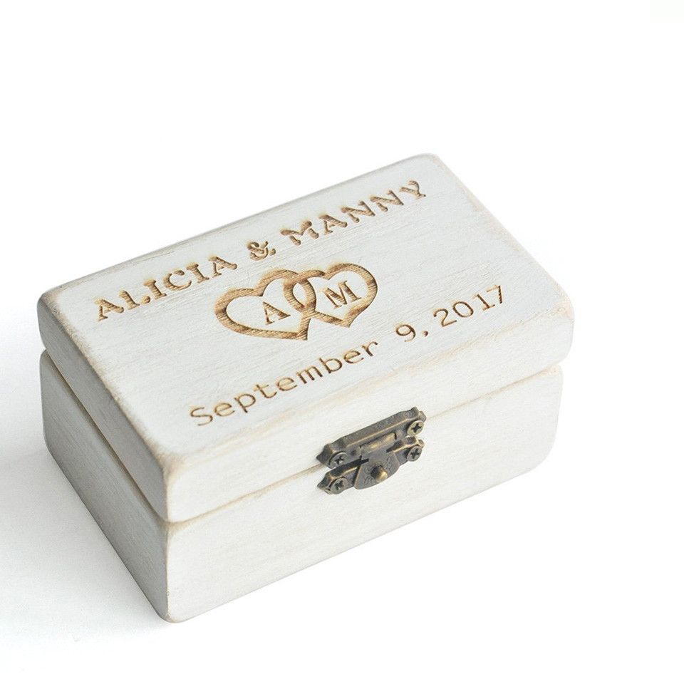 Hot sale Custom antique style ring box wooden ring boxes