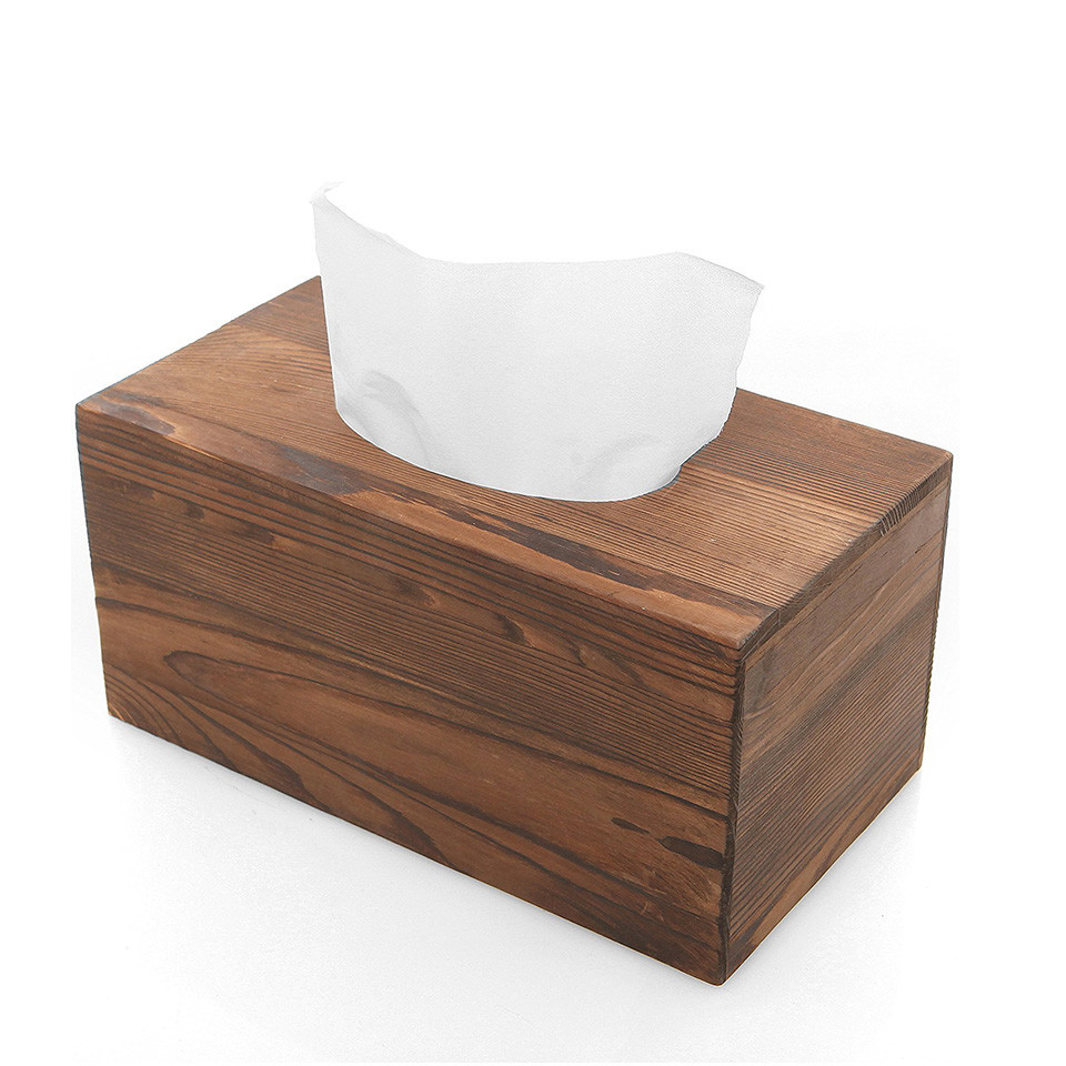 Durable empty container square useful wood fashion tissue box