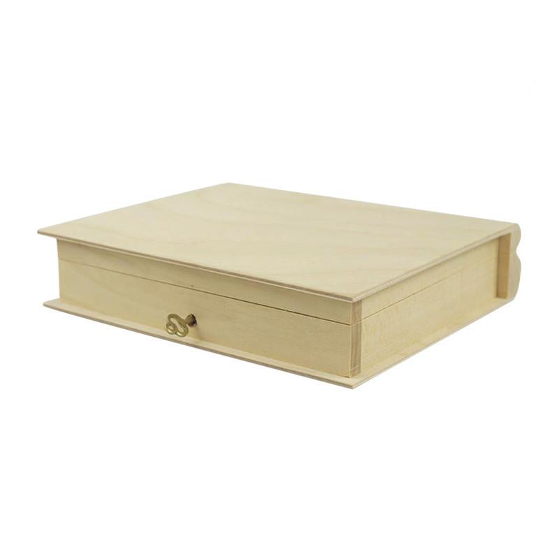 Custom new design simple useful wooden book shapedstorage box