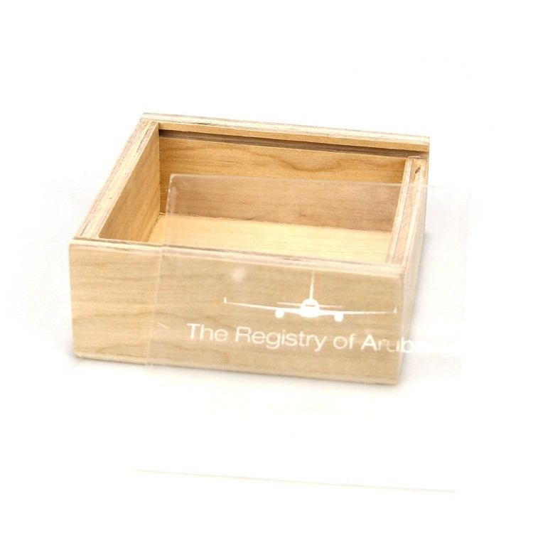 small natural wooden sliding lid packaging box wooden display boxes with cover