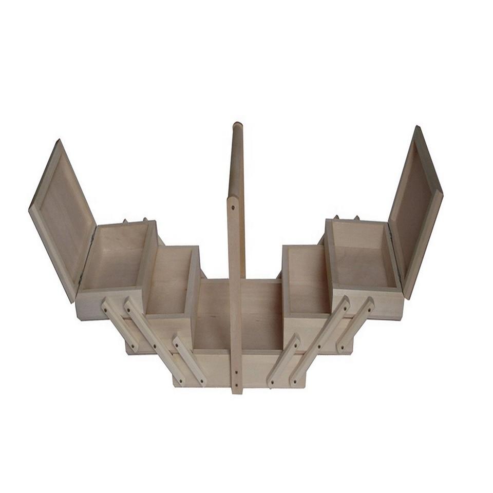 Factory price custom folding sewing set wooden sewing kit box