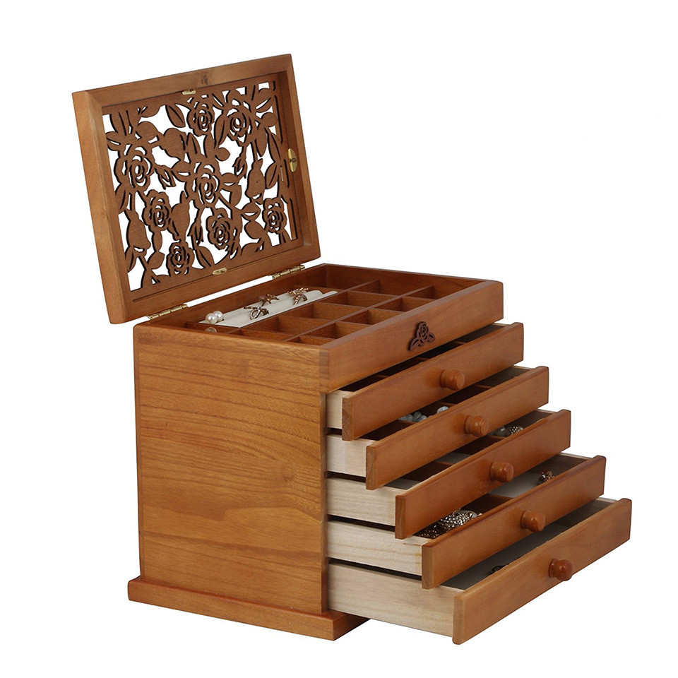 Wholesale simple useful style wood ring wooden jewelry box organizer