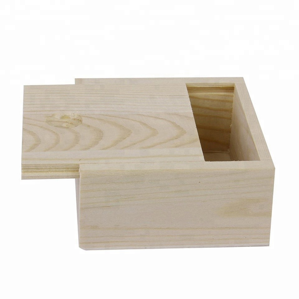 Best sales customized unfinished small plain wooden box with slid lid